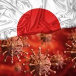 Coronavirus cells appear over the Japanese flag