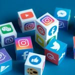 Social media app's icons and logos appear on a number of cubes