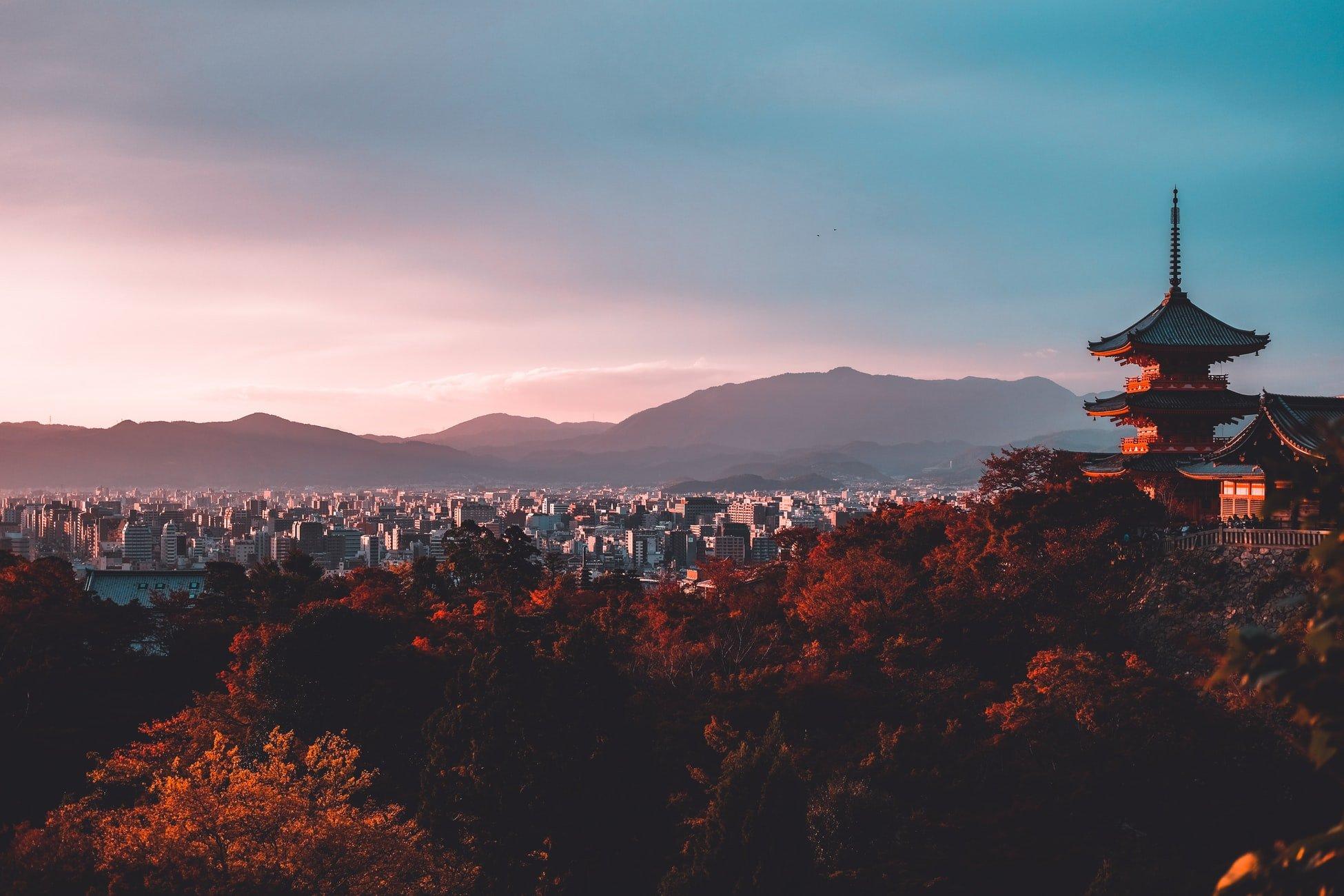 sunset photo of kyoto