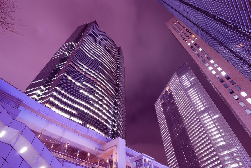 The Shiodome area of Tokyo which is home to a famous ad agency that's a competitor to PR agencies in Japan